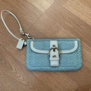 Blue Coach Wristlet Wallet